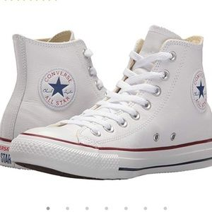White leather high-top converse